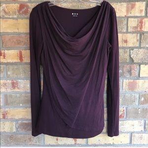 Three Dots Purple Knit Blouson Top